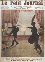 Evènements : Couverture du Petit Journal du 22 mars 1914 illustrant l'assassinat de Gaston Calmette par Henriette Caillaux.